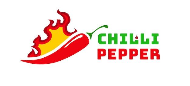 Pittige chili peper vector label geïsoleerd op de achtergrond voor voedsel menu hete saus culinaire show peper