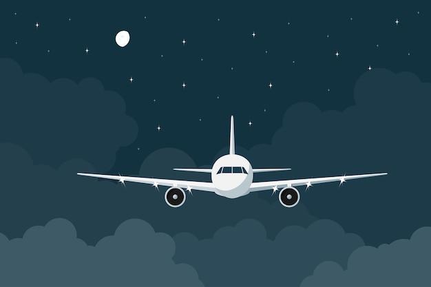 Piture van een burgervliegtuig dat in de nacht boven de wolken vliegt, stijlillustratie