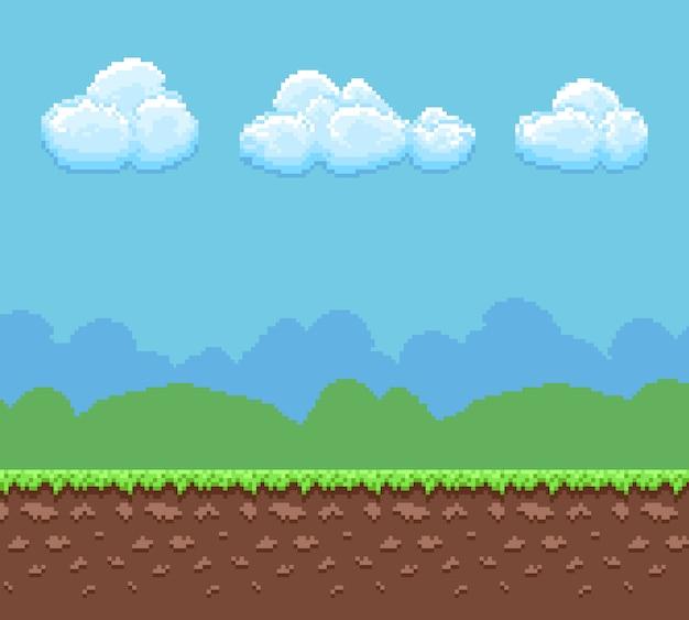 Pixel 8 bit spelachtergrond met grond en bewolkte hemelpanorama.