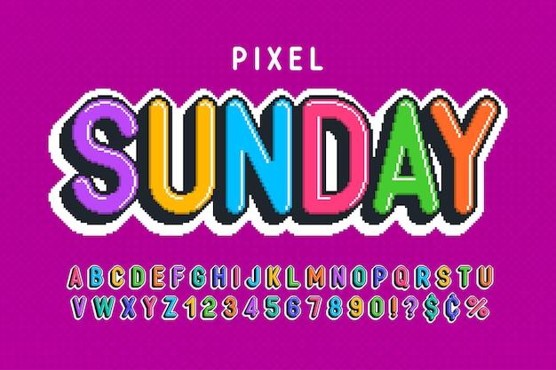 Pixel-alfabet-ontwerp gestileerd zoals in 8-bits games hoog contrast en scherp retrofuturistisch eenvoudige staalkleurcontrole effect vergroten of verkleinen