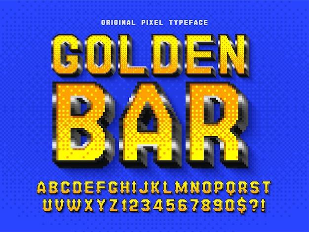 Pixel-alfabetontwerp gestileerd zoals in 8-bits games retrofuturistisch hoog contrast eenvoudige staalkleurencontrole