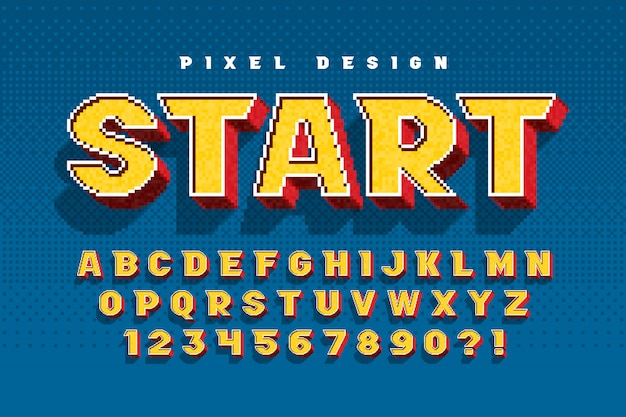 Pixel-alfabetontwerp, gestileerd zoals in 8-bits games.