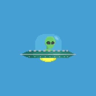Pixel alien in vliegende ufo