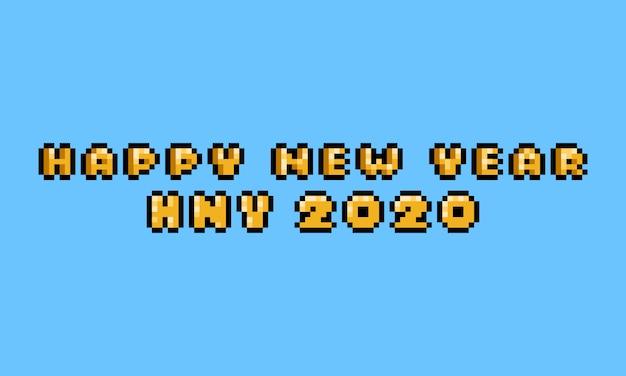 Pixel art 8 bit gelukkig nieuwjaar tekstontwerp.