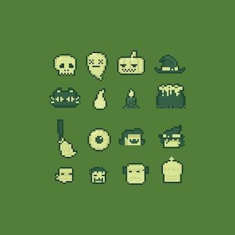 Pixel art 8 bit halloween element set.