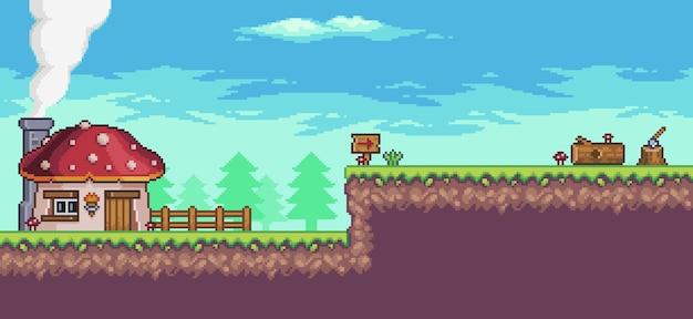 Pixel art arcade game scenario met huis, bomen, hek en wolken.