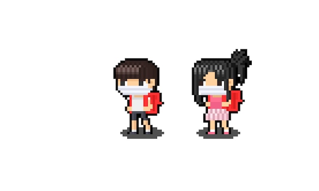 Pixel art aziatische kind stripfiguur met rode rugzak.