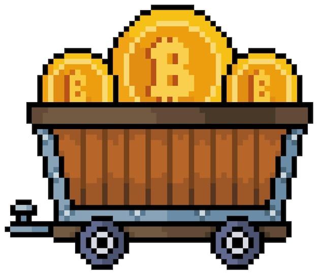 Pixel art bitcoin erts winkelwagen cryptocurrency mijnbouw 8bit game-pictogram op witte achtergrond