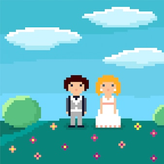 Pixel art bruidspaar.