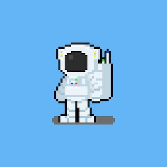 Pixel art cartoon astronaut karakter.