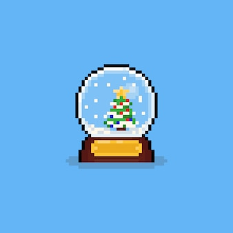 Pixel art cartoon crystal globe met sneeuw en boom.