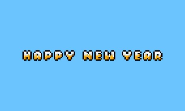 Pixel art cartoon gelukkig nieuwjaar gouden tekst met sneeuwdekking.