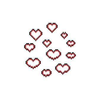 Pixel art cartoon hart pictogramserie.