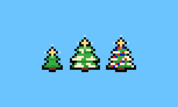 Pixel art cartoon kerstboom pictogramserie.