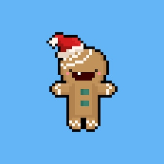 Pixel art cartoon peperkoek karakter met kerstmuts. 8bit.