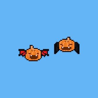 Pixel art cartoon pompoen met vleermuis vleugels. 8ibt. halloween.