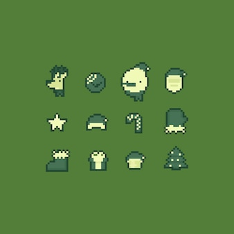 Pixel art cartoon retro kerst icon set.