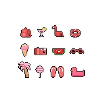 Pixel art cartoon roze zomer iconen ontwerpset.