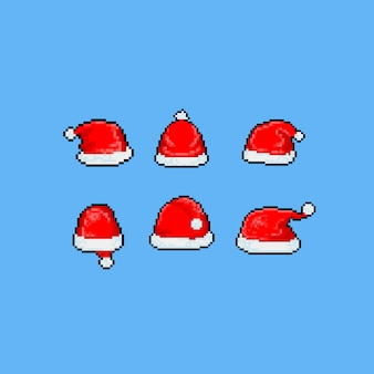 Pixel art cartoon santa hoed set.