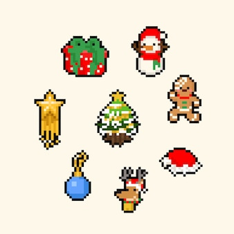 Pixel art cartoon schattige kerst set