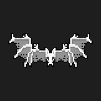 Pixel art cartoon skelet vleermuis karakter pictogram.