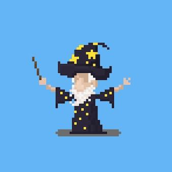 Pixel art cartoon wizard characterdesign.