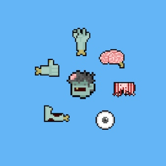 Pixel art cartoon zombie set.