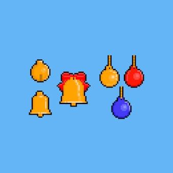 Pixel art christmas gouden bel set