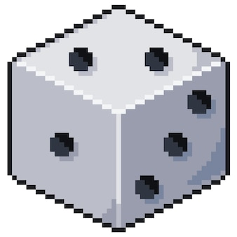Pixel art dobbelstenen bit game pictogram witte achtergrond