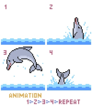 Pixel art dolfijn animatie geïsoleerd