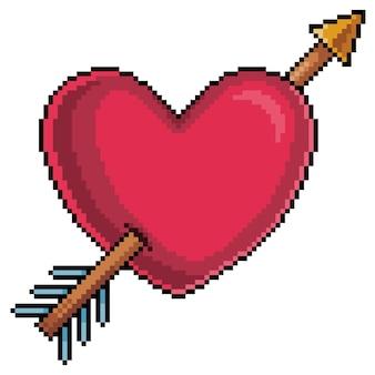 Pixel art heart met cupido's pijl voor valentijnsdag bit game-item