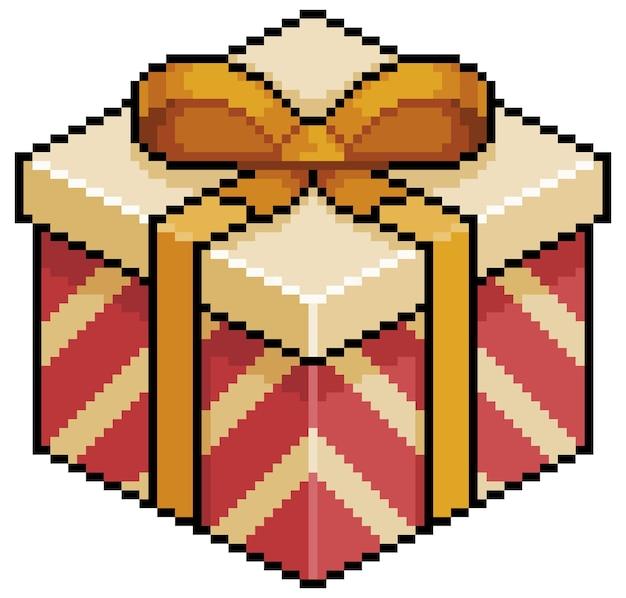 Pixel art kerst- of verjaardagscadeau rood en goud box bit game-item op witte achtergrond
