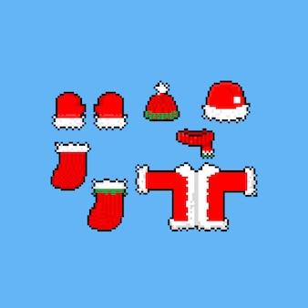 Pixel art kerst santa kleding set