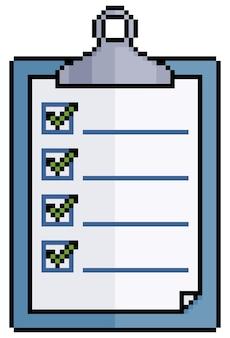 Pixel art klembord pictogram voor spel geïsoleerd