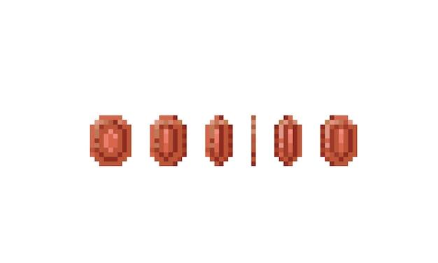 Pixel art koperen muntspel item. 8bit icoon.