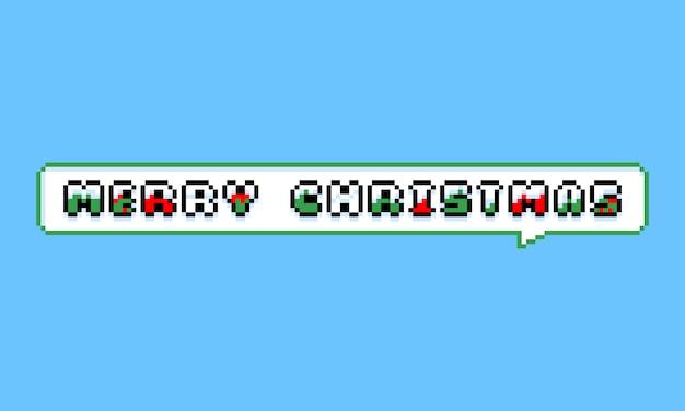 Pixel art merry christmas wenskaart