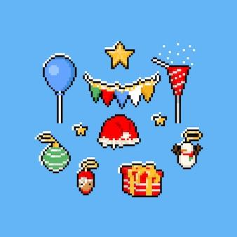Pixel art nieuwjaar element ingesteld