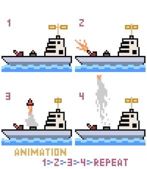 Pixel art oorlogsschip animatie