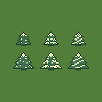 Pixel art retro kerstboom pictogramserie.
