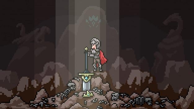 Pixel art scene legendarisch zwaard