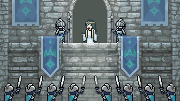 Pixel art scene middeleeuwse prinses