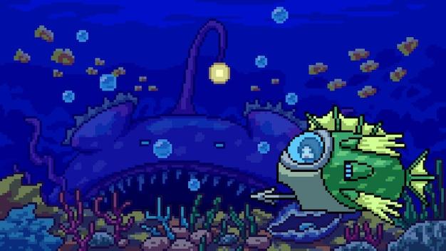 Pixel art scene onderwater avontuur