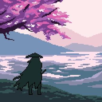 Pixel art scene samurai reiziger