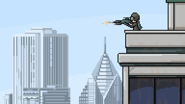 Pixel art scene sniper hitman