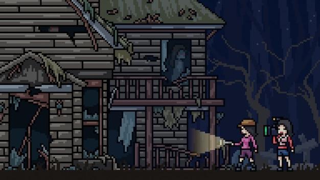 Pixel art scene spookhuis ontdekkingsreiziger