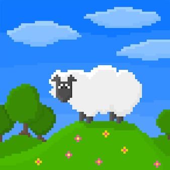 Pixel art schapen staat op de heuvel