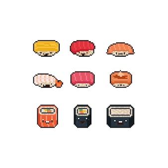 Pixel art schattige cartoon sushi charactger set.
