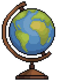 Pixel art school earth globe item voor 8bit game op witte achtergrond