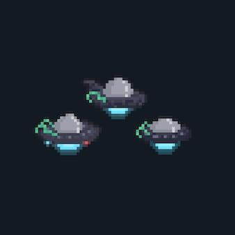Pixel art set cartoon ufo icon