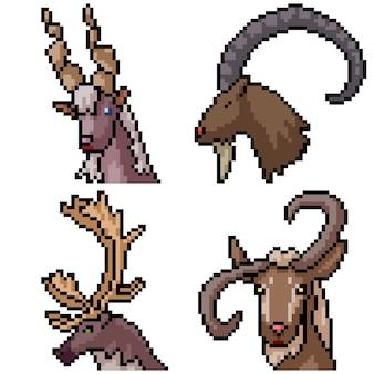 Pixel art set gehoornd zoogdier